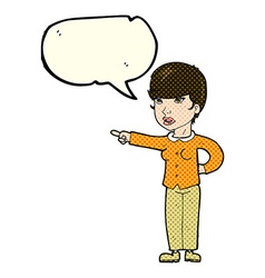 Cartoon woman pointing finger of blame with speech vector