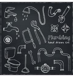 Plumbing hand drawn decorative icons set vector image
