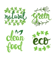 Eco natural bio logo set green icons vector