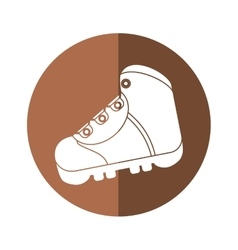 Boot equipment adventure camping brown circle vector