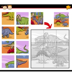 cartoon dinosaurs jigsaw puzzle game vector image vector image