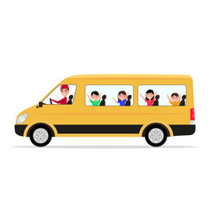 Cartoon minivan driver children passengers vector