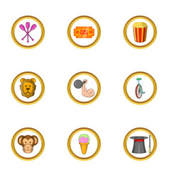 Circus program icon set cartoon style vector
