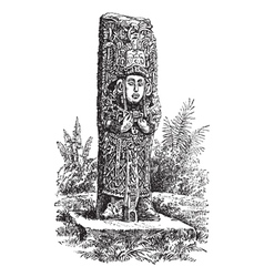 Copan Monolith vintage engraving vector image