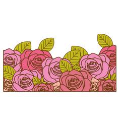 Decorative half border with realistic roses design vector