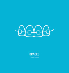 Dentist orthodontics line icon of braces teeth vector