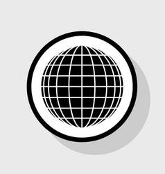 Earth globe sign flat black icon in white vector