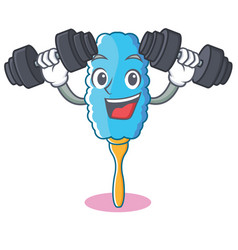 Fitness feather duster character cartoon vector