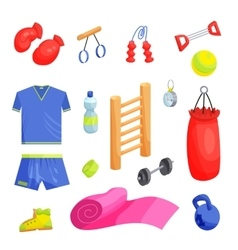 Fitness icons set cartoon style vector image