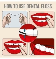 Flossing teeth infographics vector