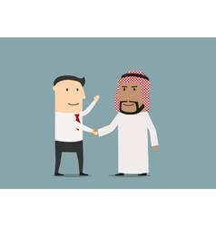 Handshake of european and arab businessmen vector image