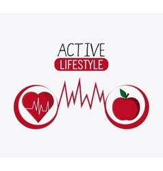 Heart apple healthy lifestyle design vector
