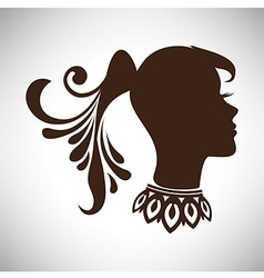 Indian woman in profile with tail and necklace vector