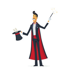 Magician doing a hat trick - cartoon people vector