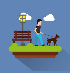 Man walking their dog pet park scene with bench vector