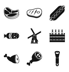 Meat a delicacy icons set simple style vector