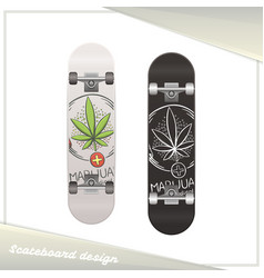 Medical marijuana skateboard nine vector