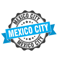 Mexico city round ribbon seal vector