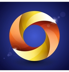 Moebius origami red orange and yellow paper circle vector image vector image