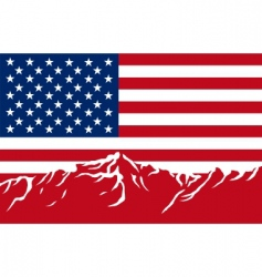 mountains with flag of USA vector image