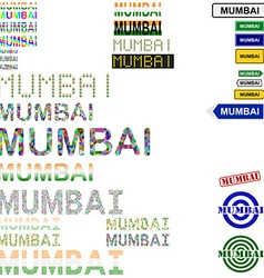 Mumbai text design set vector