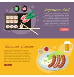 National cuisine flat web banners set vector