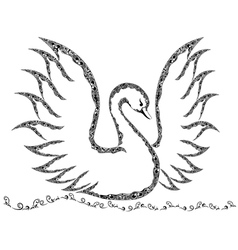Ornamental swan with raised wings vector image vector image