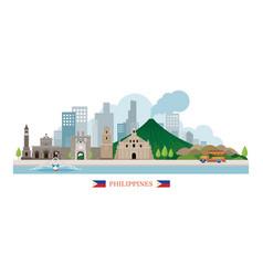 Philippines landmarks skyline vector
