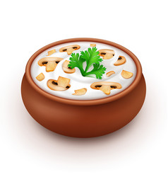 Pot of mayonnaise with parsley and champignons vector