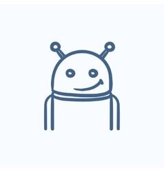 Robot sketch icon vector image vector image