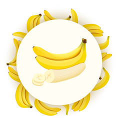Round badge with ripe fresh bananas isolated on vector