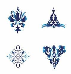 Set of Damask Ornamental Elements Blue Ele vector image
