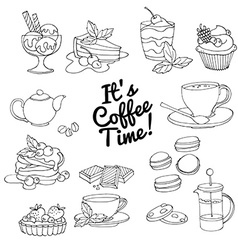 Set of fresh desserts with coffee tea berry ice vector image