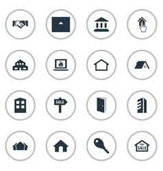 Set of simple property icons elements high-rise vector