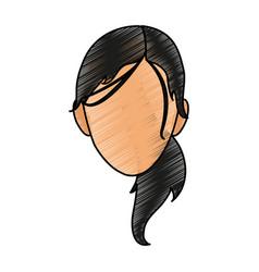 Silhouette face girl cartoon scribble vector