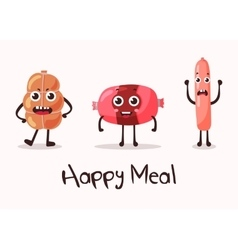 Smiling meat cartoon character vector