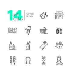 Tattoo studio - line icons set vector