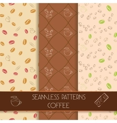Three classic coffee patterns vector image
