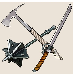 Weapon against the zombies ax sword mace vector
