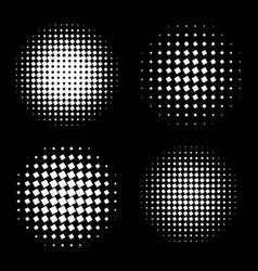 White abstract halftone circle shapes set vector