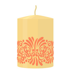 White decorative candle with red ornament icon vector