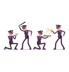 young policeman at attack and defense vector image vector image