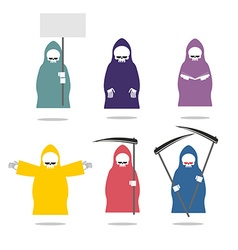 Set grim reaper in coloured raincoats death in vector