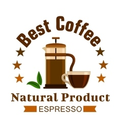 Cafe emblem coffee espresso label vector