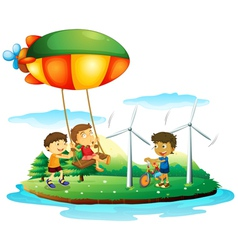 Three children playing at the park vector