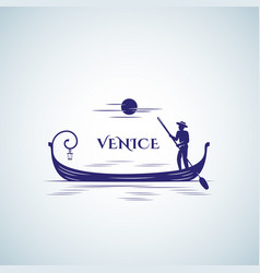 Venice boat abstract sign emblem or logo vector