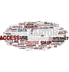 laptop on cruise text background word cloud vector image