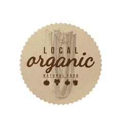 Local organic natural food round paper emblem vector