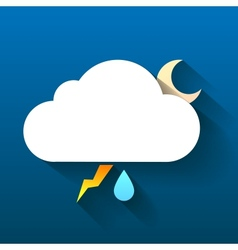Night cloud moon lightning and rain drop isolated vector image