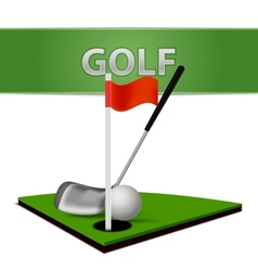 Golf ball club and green grass emblem vector
